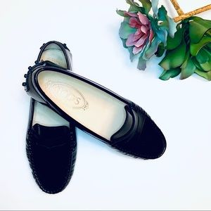 Tod's Black Patent Leather Driving Loafers 6.5